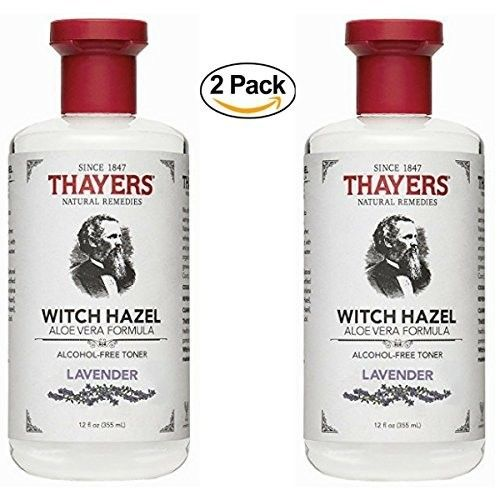 Thayers Alcohol-free Lavander Witch Hazel with Aloe Vera, 12 oz - (Pack of 2) + Organyc 100% Organic Cotton Rounds 70 Count