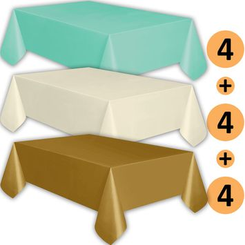 12 Plastic Tablecloths - Aqua, Ivory, Gold - Premium Thickness Disposable Table Cover, 108 x 54 Inch, 4 Each Color