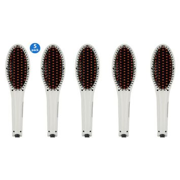 5 Pack Hair Straightener Brush -ION heating technology, Pro Temperature Control