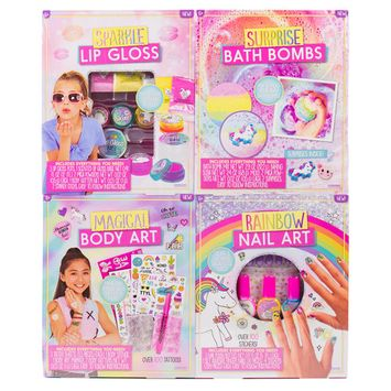4-in-1 D.I.Y. Creative Beauty Kids Kit: Make Lip Gloss, Bath Bombs, Body Art and Nail Art