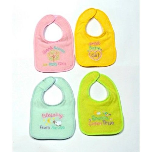 Parent's Choice Infant Bibs, Girl Heavenly Saying, 4 Pack