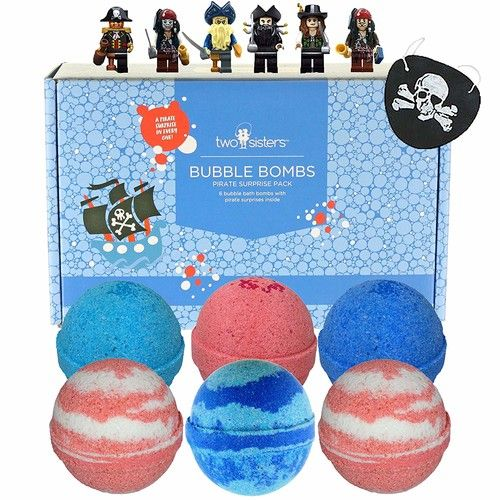 6 Pirate BUBBLE Bath Bombs with Surprise Minifigure Toys Inside for Boys and Girls, Best Birthday Gift Idea, Large Scented Spa Fizzy, Fun Color, Lush Scent, Kid Safe, Vegan, Hand-made in USA