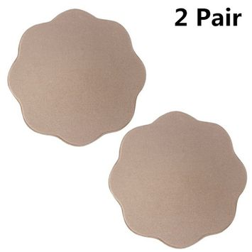 DYMADE 1/2/4 Pair Reusable Silicone Adhesive Pad Pasties Skin Bra Nipple Cover [pattern: pattern-flower]