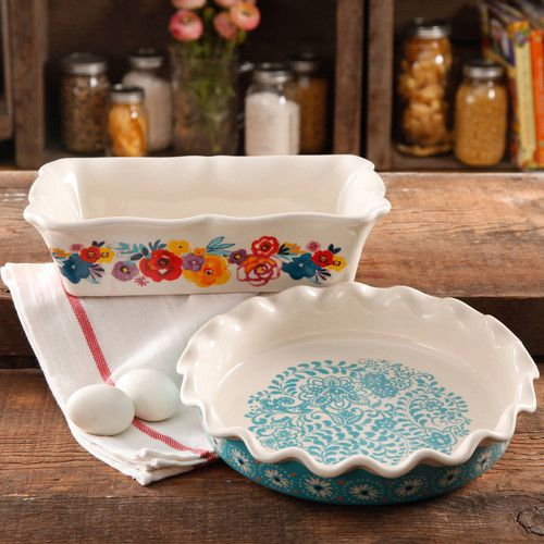 """The Pioneer Woman Flea Market Decorated 9"""" Ruffle Top Pie Plate and 2.3-Quart Ruffle Top Bakeware"""