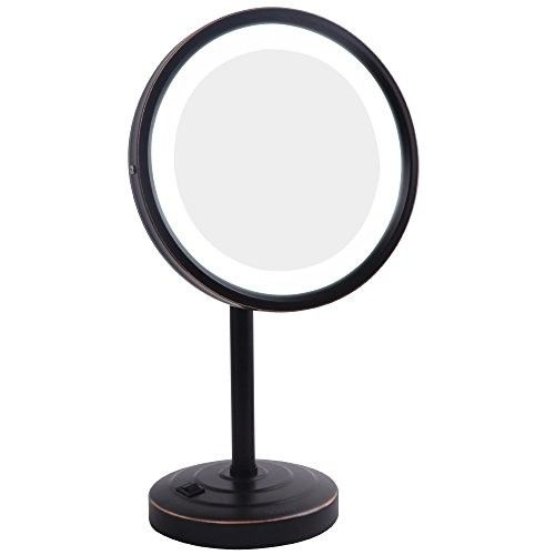 GURUN 8-Inch Tabletop Swivel Vanity Mirror with LED Light 7x Magnification,Oil-Rubbed Bronze M2209DO(8in,7x)