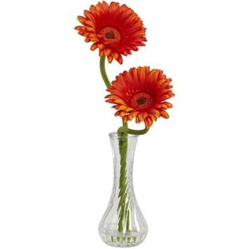 Gerber Nearly Natural Gerber Daisy with Bud Vase, Assorted 1