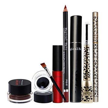 Ragdoll50 Set of 6, Long Staying Double Color Eyeliner Gel+Lip gloss+Lipliner+Eyeliner+Eyebrow pencil+Mascara Cosmetics Set Makeup Kit