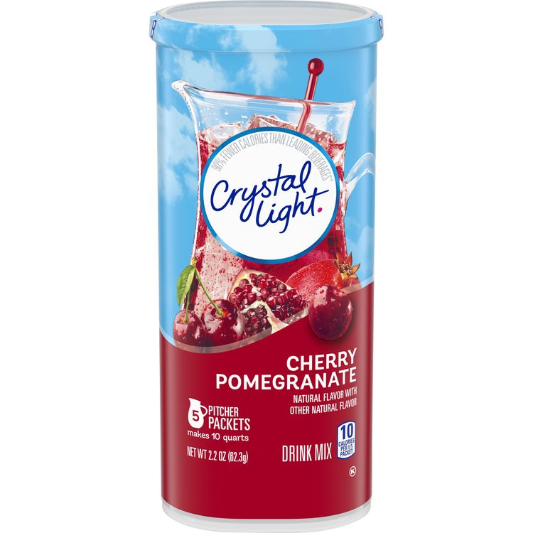 Crystal Light Cherry Pomegranate Powdered Drink Mix, Caffeine Free, 2.2 oz Can