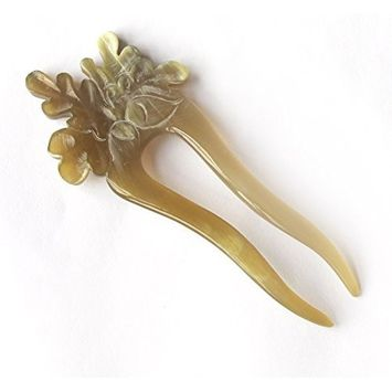 Marycrafts Black Acorn Oak Leaf Buffalo Horn Hair Fork, Hairfork, Hair Pin, Hairpin, Hair Accessory, Hair Toy Handmade 5.91