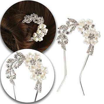 Decorative Hair Styling Hairstyling Pin Hairpin Slide Barrette Bridal Brides Weddings Bridesmaids Decoration In Silver Color With Leaves Shaped Crystals...