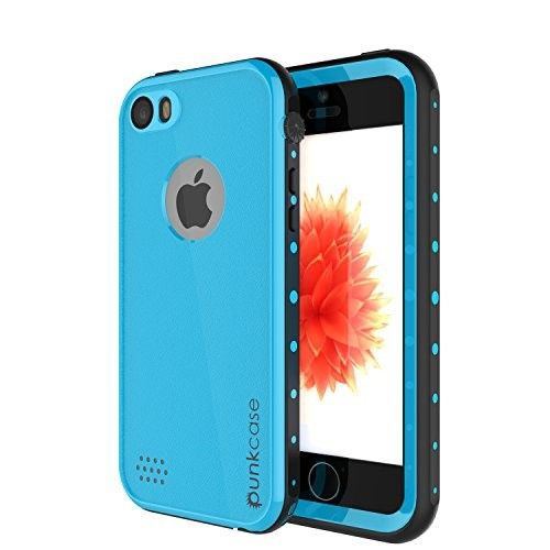 iPhone SE Waterproof Case, PUNKcase StudStar Light Blue Apple iPhone SE Waterproof Case W/ Attached Screen Protector Lifetime Warranty