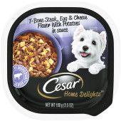 CESAR HOME DELIGHTS Soft Wet Dog Food T-Bone Steak, Egg & Cheese Flavor in Sauce, (24) 3.5 oz. Easy Peel Trays