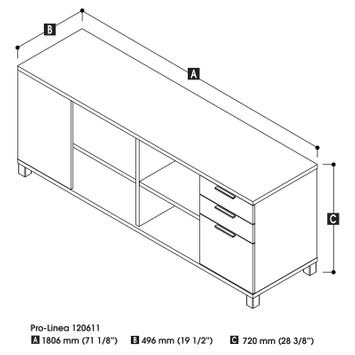 Bestar Pro-Linea Credenza with 3 Drawers, Multiple Colors