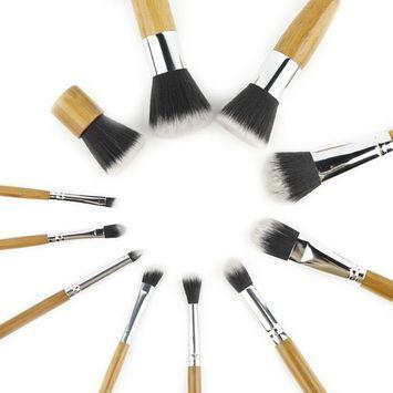 2017 New 11pcs Wood Handle Makeup Cosmetic Eyeshadow Foundation Concealer Brush Set