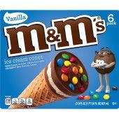 M&M'S Ice Cream Cones With Vanilla Ice Cream 6-Count Box