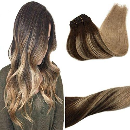 Googoo Hair Extensions Human Hair Clip In Brown #4 fading to #18 Ash Blonde Clip in Hair Extensions Human Hair Double Weft Balyage Hair Extensions 7Pcs 120g 18inch