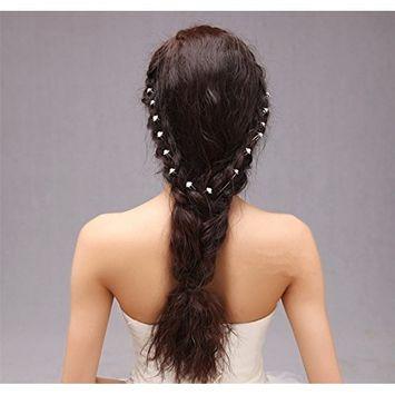 yueton 40pcs Wedding Bridal Pearl Flower Crystal Hair Pins Clips Women Headwear Hair Accessories