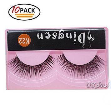 False Eyelashes Pack, 3D Black Soft Natural Long Fake Thick Eye Lashes Strips Handmade False Eyelashes Extension for Women's Make Up 10 Pairs