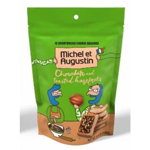 Michel et Augustin Chocolate French Cookie Squares   Milk Chocolate Hazelnut Pure Butter Shortbread   15 Count Pouch [Milk Chocolate Hazelnut]
