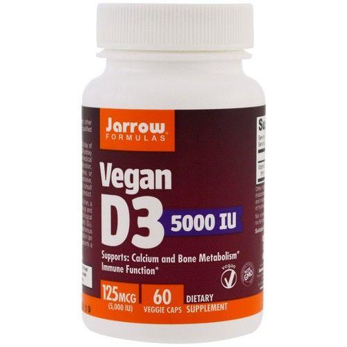 Jarrow Formulas, Vegan D3, 5000 IU, 60 Veggie Caps [Potency : 5000 IU]