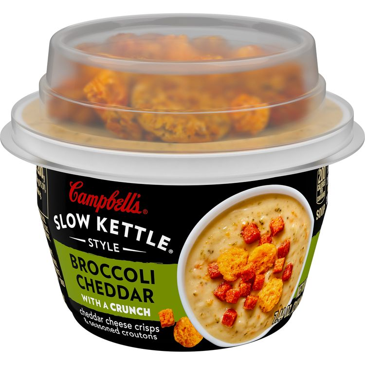 Campbell's® Slow Kettle Style Broccoli Cheddar Soup With Crunchy Toppings, Gourmet Snack, 7 Ounce Microwavable Cup