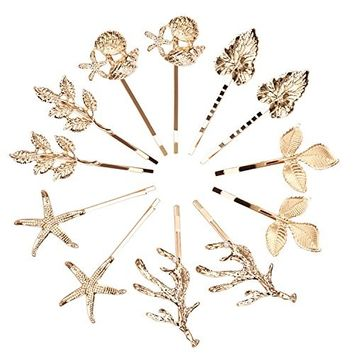 SuPoo 12 Pack Hair Pins Vintage Gold Athena Olive Branch Leaf Starfish Conch Shell Antler Bridesmaid Wedding Hair Clips Bobby Pin Hair Barrettes Hair Accessories For Women and Young Ladies