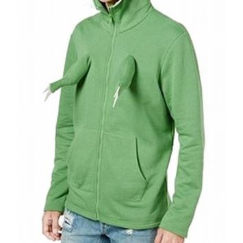 American Rag NEW Green Mens Size Large L Dino Full Zip Hooded Sweater