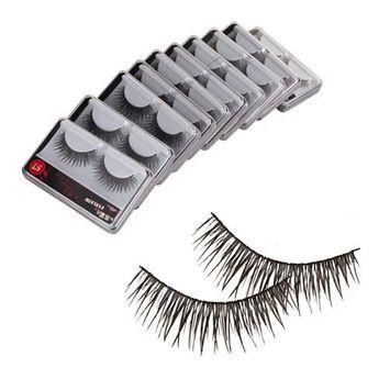 SODIAL(TM) New 10 Pair Reusable Charming Cross Fake False Eyelashes Glue Adhesives Eye Lashes Makeup Black