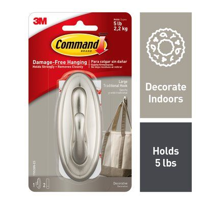 Command™  Traditional Hook, Brushed Nickel