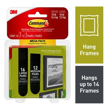 Command™ Medium & Large Black Picture Hanging Strips Mega Pack, Hang a Gallery Wall Damage-Free, 28 pairs