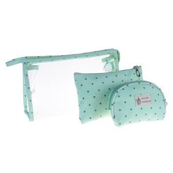 BCP 3 Piece PVC Cosmetic Makeup Travel Bag Set Aqua Blue Color