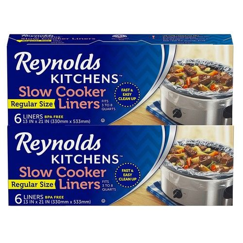 Reynolds Kitchens Premium Slow Cooker Liners - 13 x 21 Inch, 2 Packages of 6 Liners (12 Total)