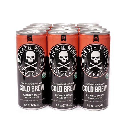 Death Wish Coffee Slightly Sweetened Black Cold Brew 12-PACK