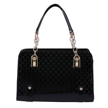 Women Tote Embossed Handbag Shoulder Bag PU leather Black Messenger Hobo Bag
