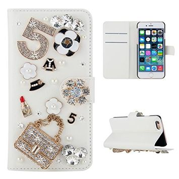 Samsung Galaxy A6 Plus 2018 Case, Scheam Leather Case 3D Diamond Bling Shining Case Wallet Case Credit Card Slot Kicktand Flip Cover Shockproof Protective Case for Galaxy A6 Plus 2018 (Handbag)
