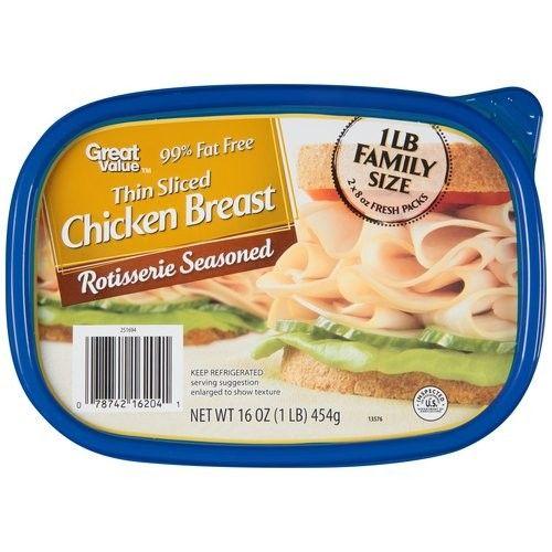 Great Value Thin Sliced Rotisserie Seasoned Chicken Breast, 16 oz