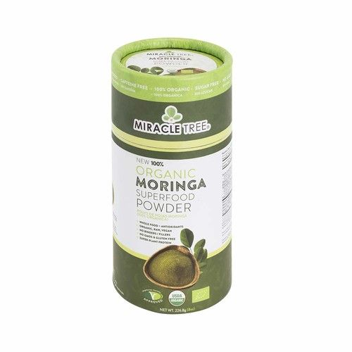 Miracle Tree's 100% Organic Moringa Superfood Powder   Smoothies, Baked Goods, Lattes   8oz. (0.5lbs) Canister