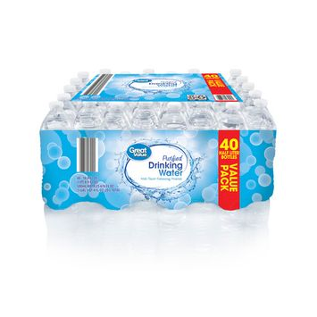 Great Value Purified Drinking Water, 16.9 fl oz, 40 count
