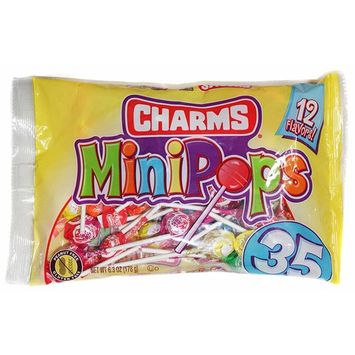 Charms (1) Bag Mini Pops Lollipop Candy - Assorted Fun Flavors - Peanut & Gluten Free 35pc per Bag 6.3 oz