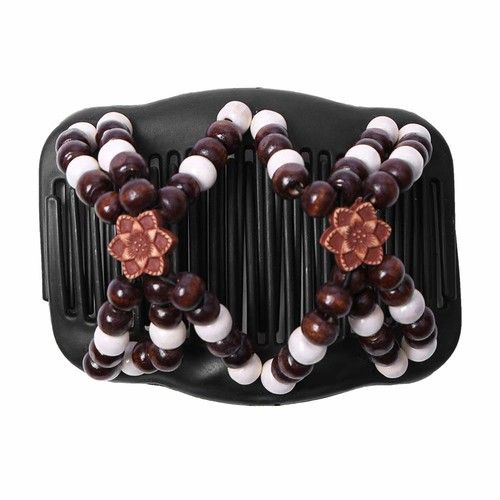 Double Hair Comb Clip Magic Beads Stretchy Hair Combs Elasticity Hairpin​,Easy to Use