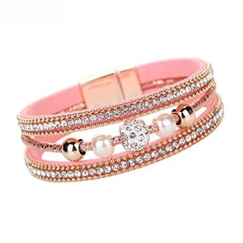 Voberry Women Leather Magnetic Wristband Multilayer Crystal Beaded Bangle Bracelet