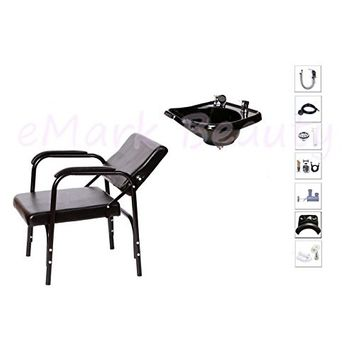 Wall Mounted Backwash ABS Plastic Bowl Salon Equipment Package Deal with Reclining Chair TLC-B13W-216
