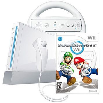 Nintendo Wii Console with Mario Kart Wii Bundle (White)