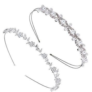SuPoo 2 Pack Rhinestones Headbands Leaves and Crystal Crown Wedding Headbands Bridal Headband Hair Band