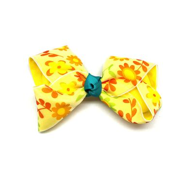 Yellow Blue Flower Bow Barrette Hair Clip - Colorful Ribbon Bow Alligator Clip
