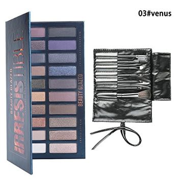 Beauty Glazed Waterproof 20 Colors Eyeshadow Pallete Shimmer and Matte Eye Shadow Highly Pigmented Makeup Palette +7Pcs In one Makeup Brushes Kit