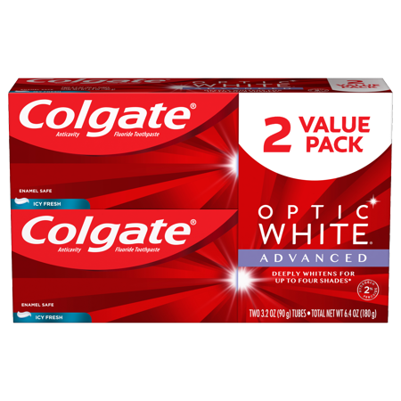 Colgate Optic White Advanced Teeth Whitening Toothpaste, Icy Fresh, 3.2 Oz, 2 Ct