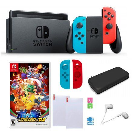 Nintendo Switch in Red and Blue with SW Pokken Tournament Sleevs and Accessories Bundle