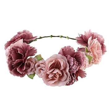 ULTNICE Bridal Bridesmaid Flower Headband,Boho Flower Wreath Headband Floral Garland Crown Hair Accessories for Wedding Featival Party