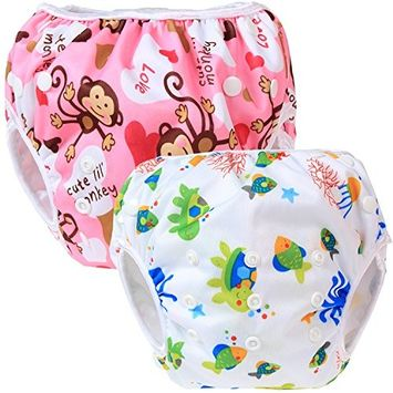Teamoy 2 Pack Reusable Swim Diaper, Adjustable Cloth Swim Diaper Cover.